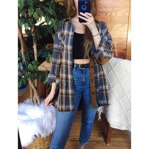 🌿 Vintage Plaid + Corduroy Boyfriend Flannel 🌿